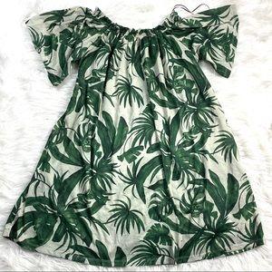 H&M Bardot Palm Leaf  Mumu Dress Tropical Resort
